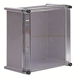 ENCL GFR-POLY GREY RAL7035 372X302X175 IP66 CLEAR COVER 856060, 852217